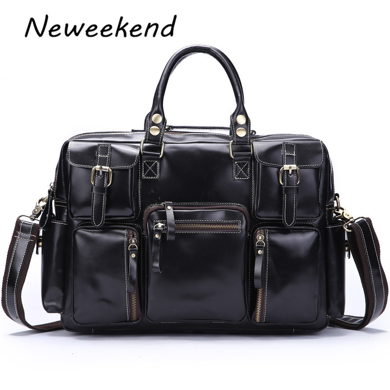 NEWEEKEND Genuine Leather Cowhide Bright Multi-Pocket 15 Inch Shoulder Handbag Crossbody Briefcase Laptop Bag for Man 3061 laptop backpack 15 15 4 15 6 17 17 3 inch multifunction briefcase shoulder bag handbag school bag for macbook pro man women