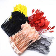 2 meters Dyed natural Coque Tail Feathers Ribbon 4-6inch white Goose Feather Trims for DIY Sewing Skirt Apparel Accessories