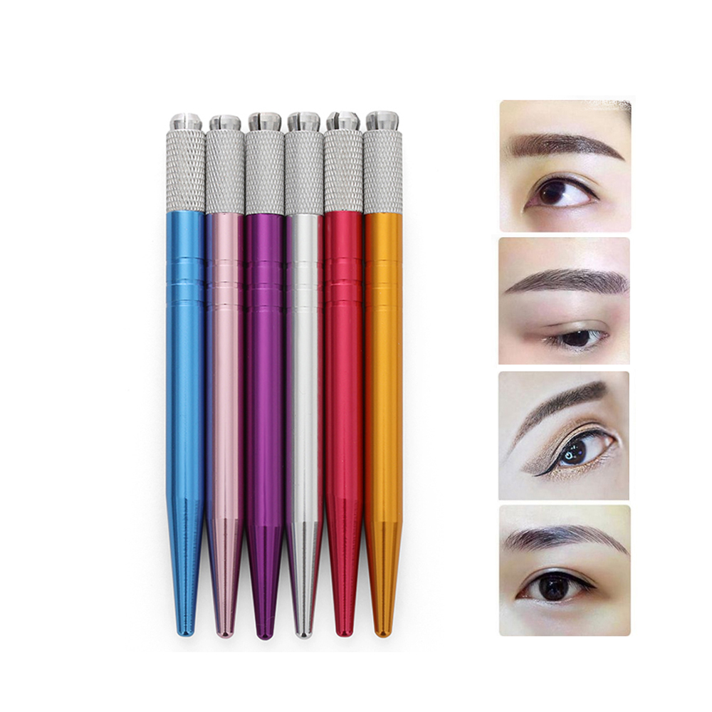 1pc New Professional Double Head Crystal Acrylic Manual Tattoo Pen Permanent Tattoo Micro Blading Lip Eyebrow Beauty Tattoo Tool Fashionable Patterns Beauty Essentials