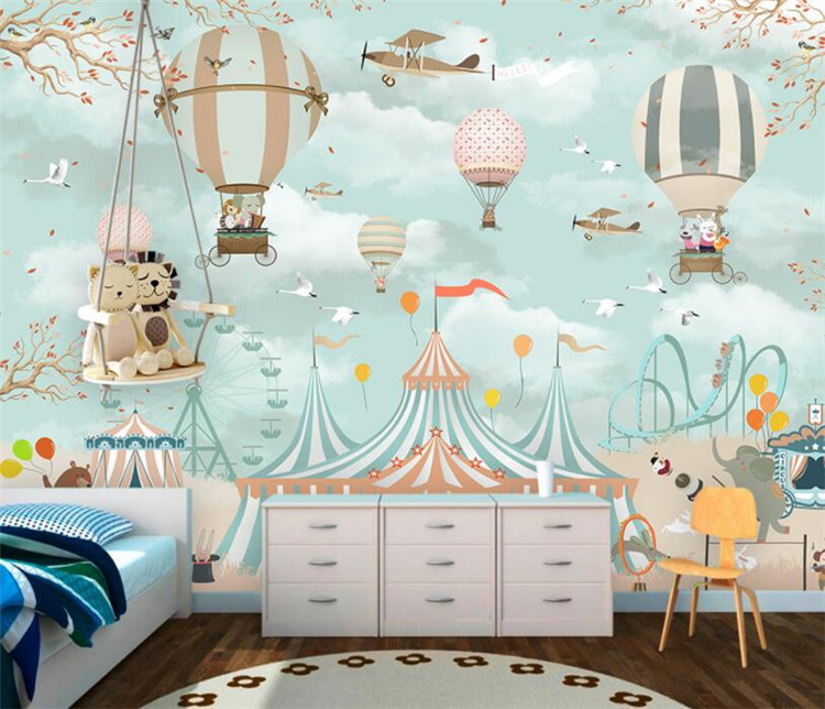 Us 10 92 48 Off Large 3d Wallpaper Cartoon Hot Air Balloon Airplane Animal Pup Circus Playground Background Wall 3d Wallpaper Mural In Wallpapers
