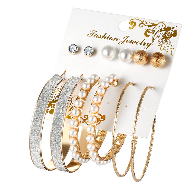 Fashion Stud Earring Set Mix for Women Gold Silver Color Imitation pearls Bead Crystal Big Round Circle Brincos Best Gifts gold earrings for women