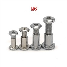 5pcs Nickel plated flat head cross lock screw pair knock plate nut furniture combination connector nail M6(China)
