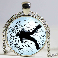 Free shipping Scuba Diver Necklace Snorkeling Swimming Nautical Ocean Art Pendant Necklace