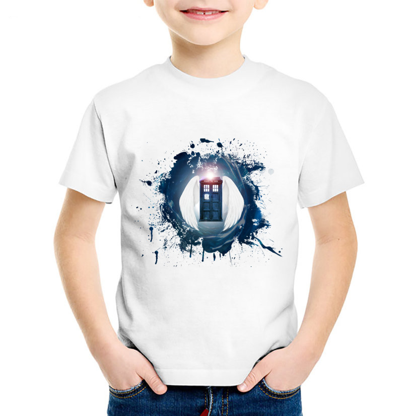Fashion Print Doctor Who Children Funny T-shirts Kids Summer Short Sleeve Tees Boys/Girls Casual Great Tops Baby Clothing,HKP397