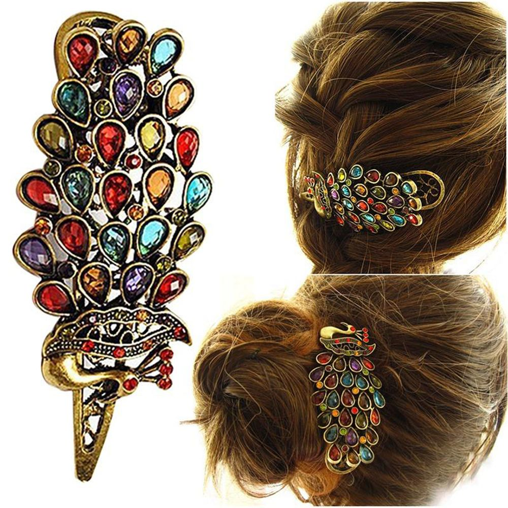 1pc New Ladies Vintage Colorful Rhinestone Peacock Barrette Hairpin Hair Clip