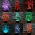 Ilusión 3D de Star Wars de La Lámpara/starwar 3D colorido Luz 7 Color de la Lámpara de Escritorio de Tabla Del Interruptor Del Tacto