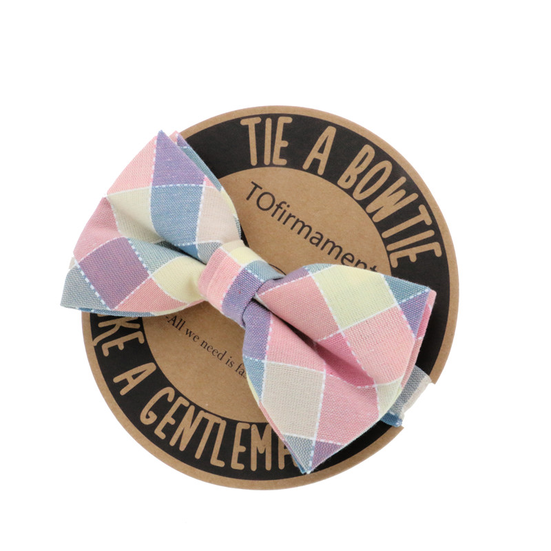 Fancy Patched Grid Plaid Pattern Groom Wedding Host Casual Wear Polyester Silk Bowtie Handmade Bowknot Bow Tie