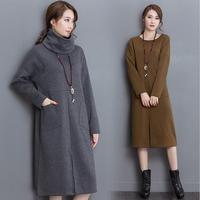 2019 Autumn Detachable Turttleneck Dress Plus Size Women Dress High Neck Dress Winter Warm Big Size Dress S 5XL 6XL Vestidos