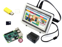 Buy Raspberry Pi 3 Model B Package F with Raspberry Pi 7inch HDMI 1024*600 IPS LCD Bicolor case 16GB SD Card & US/EU Power Adapter