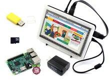 WaveShare Raspberry Pi 3 Модель B Упаковка F с Raspberry Pi 7-дюймовый HDMI 1024*600 IPS ЖК-дисплей биколор Чехол 16 ГБ SD карты Мощность адаптер