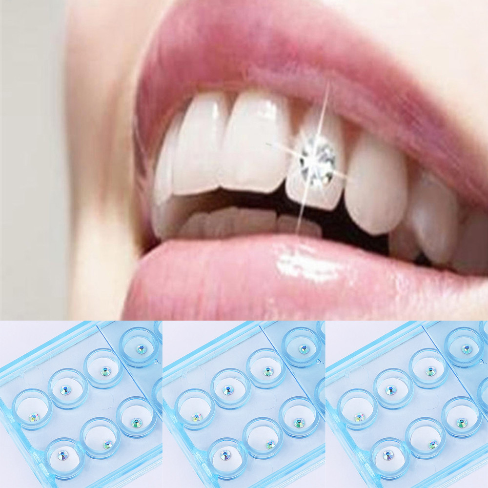 10pcs/Box Dental Decor 2mm Dental Colorful Crystal Teeth Decoration Tooth Jewelry Gem Ornaments Decor Crystal Tooth Jewelry #40