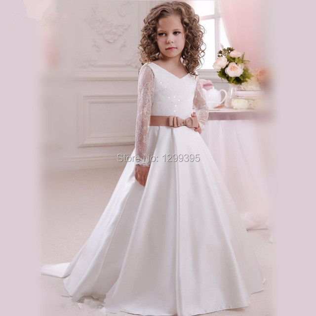 ae830cdd691fc Flowergirl robes ivoire blanc Communion Robe Pageant boule robes pour les  filles rustique dentelle robes de
