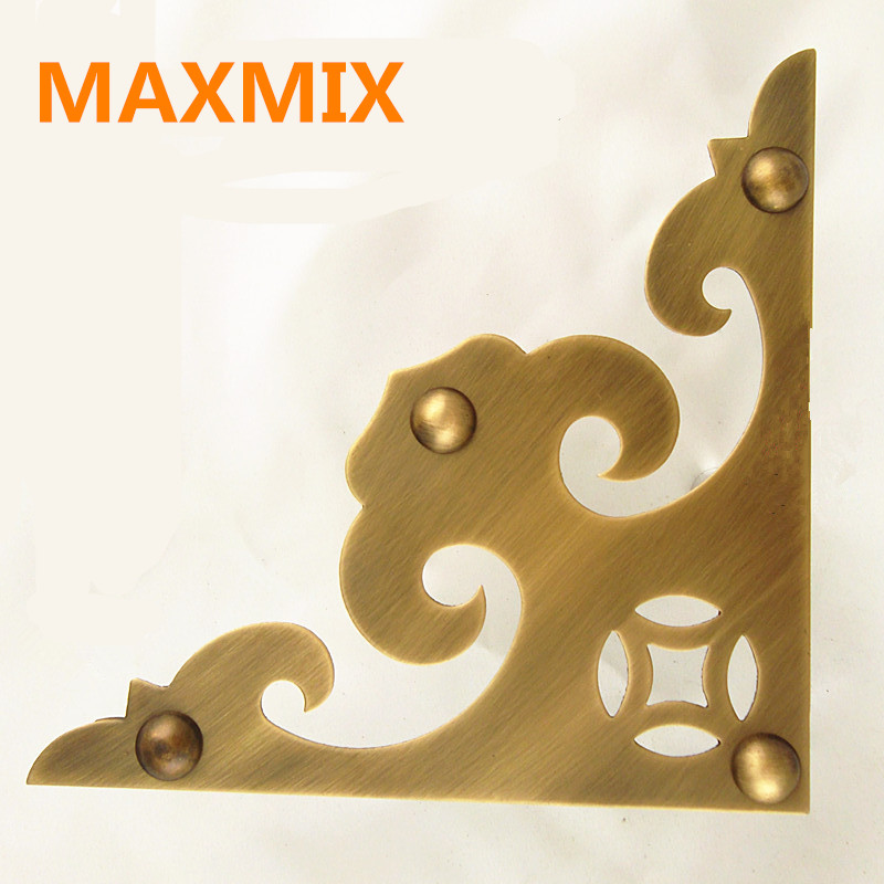 MAXMIX 160mm Antique door decoration angle flower Full copper cabinet angle Brass Decorative Sheet Corner Solid