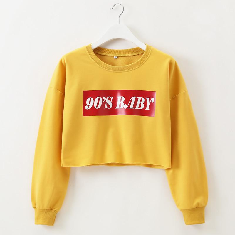 5b6927b9e720 Hirsionsan Hoodies Sweatshirt Women 2018 90s Baby Harajuku Long ...