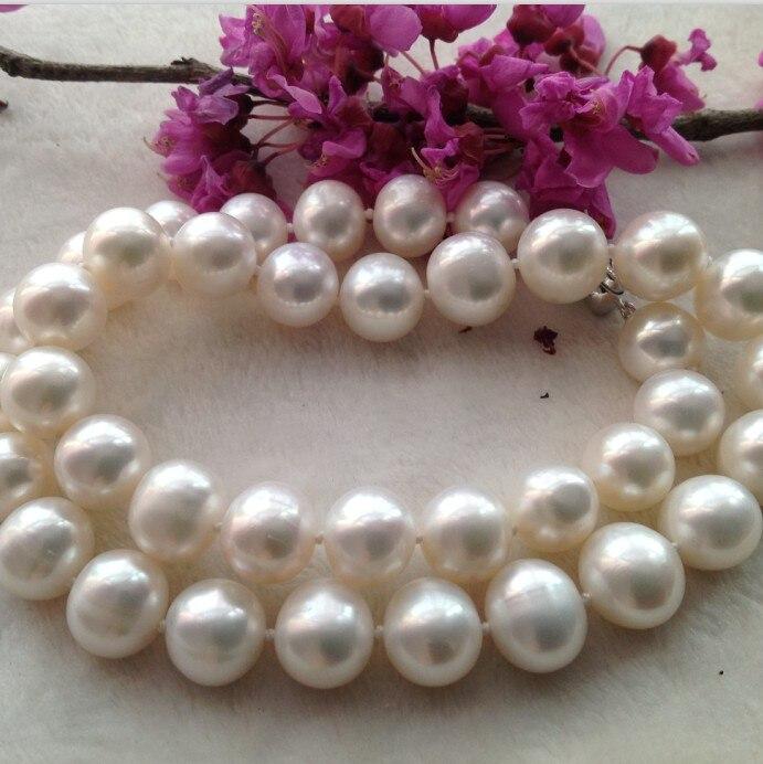 100% Véritable 11-12mm lumière perle collier grand envoyer maman 925 fermoir En Argent 18 pouces