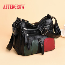 Panelled Women Handbags Casual Soft Washed Leather Multi-pocket Zipper Female Shoulder Bags For Ladies Cheap Daily Messenger Bag