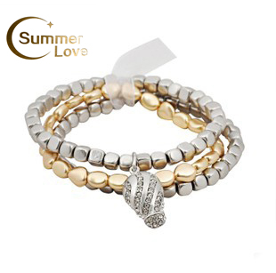 Free Shipping  2015 New Arrival Bracelet Jewelry Fashion Hot Sales Plastic Metal Stretchy Bracelet Set B0347