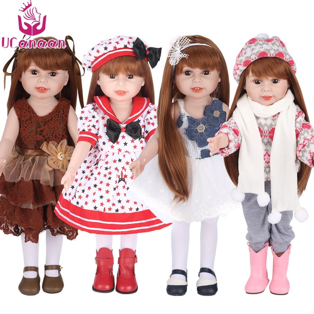 UCanaan Doll 45 cm 18 Inch Girls Dolls Handmade Soft Plastic Reborn Baby Toys Girl Dolls