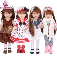 UCanaan Doll 45 cm/18 Inch American Girl Dolls Handmade Soft Plastic Reborn Baby Toys Girl Dolls for Kid's Gifts diy doll toys 22inches reborn dolls kid s toys cute princess diy dolls boy girl brinquedos gifts baby accompany toys enlightenment dolls