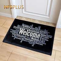Bienvenido Felpudo de la entrada alfombra de pasillo negro blanco impreso alfombrilla antideslizante alfombras de área de encargo de la puerta alfombra de la estera de la