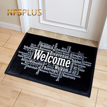 Welcome Doormat Entrance Mat Hallway Simple Black White Printed Anti-Slip Floor Area Rugs Funny Custom Front Door Carpet