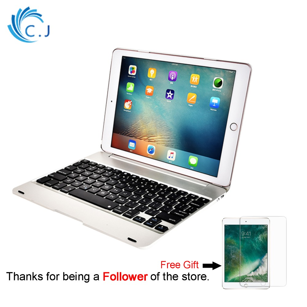 CJ Bluetooth Wireless Keyboard Case Cover for Apple 2017&2018 New IPad,IPad Pro 9.7/iPad Air 1/ 2 foldable keyboard bluetooth v2 0 wireless 78 key keyboard for ipad ipad 2 the new ipad white silver