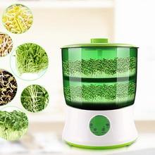 Dijital ev DIY fasulye filizi makinesi 2 katmanlı otomatik elektrikli Germinator tohumu sebze fide büyüme kova Biolomix