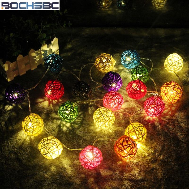 BOCHSBC 2M Holiday String LED Lamp for Bedroom Living Room Coupe du monde de Lamps Coppa del mondo di calcio Rattan Ball Lights