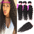 Brazilian Water Wave Virgin Hair With Closure Curly Human Hair With Closure 4 Bundles Brazilian Hair Weave Bundles With Closure