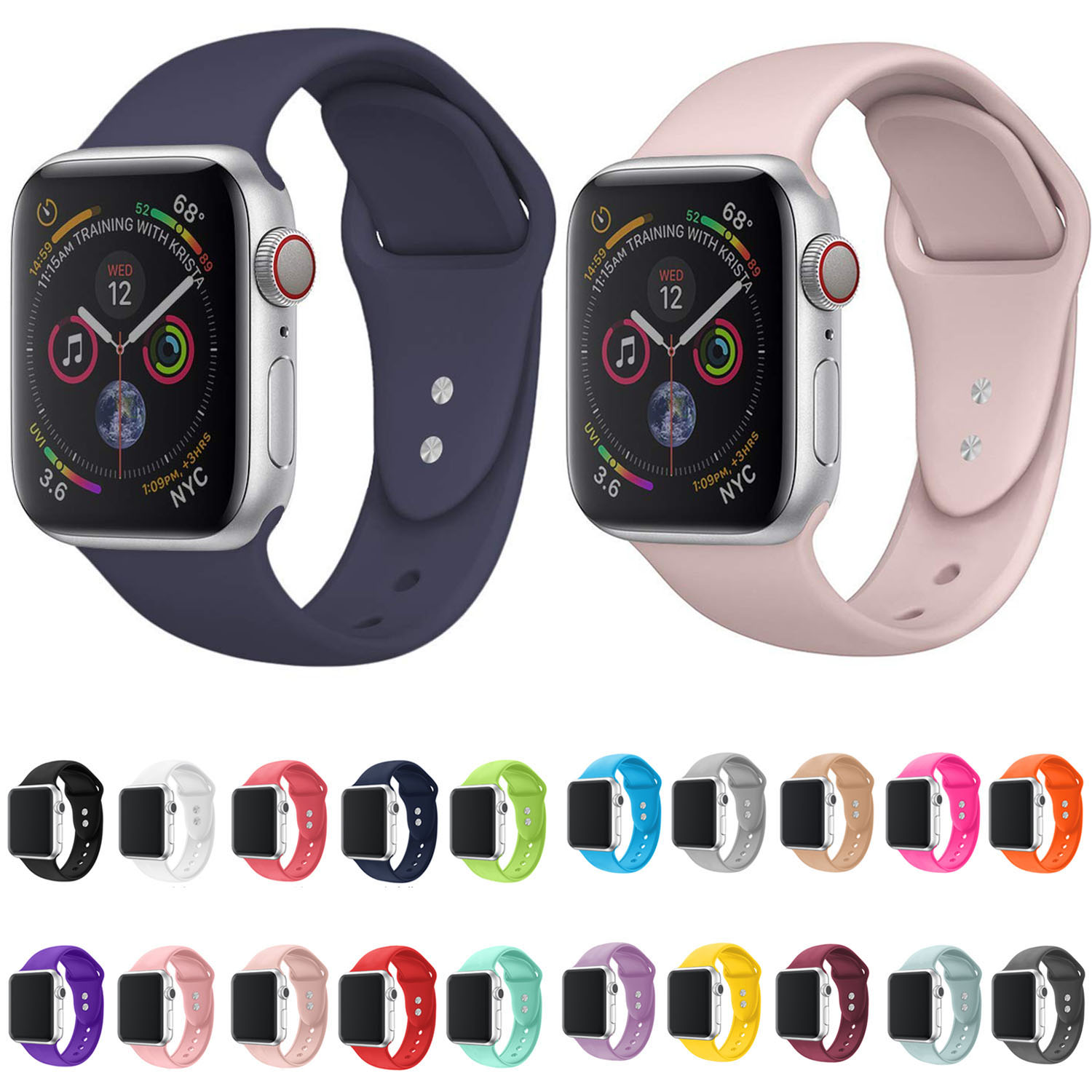 Pink Sand Sport Silicone Strap For Apple Watch Band 44mm/42mm 40mm/38mm Series 5/4/3/2/1 IWatch Rubber Band Bracelet
