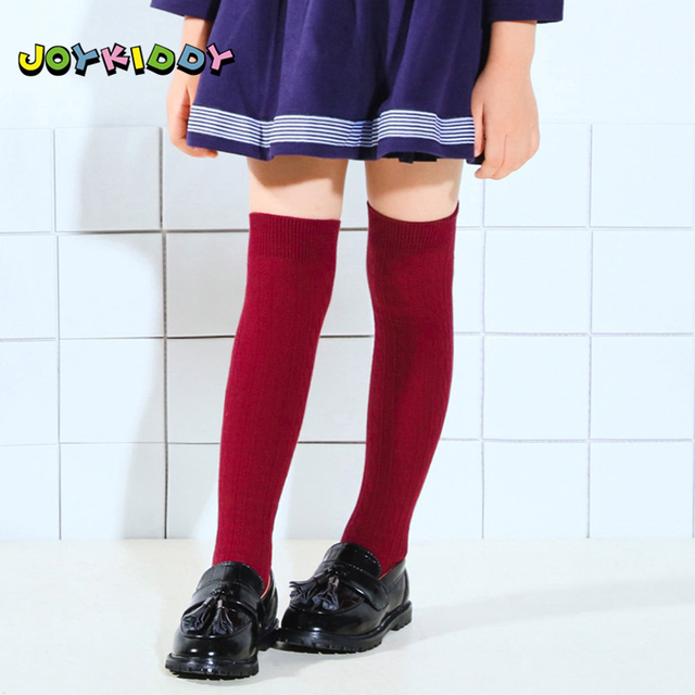e8caa23fd Autumn Winter Thigh High Stockings for Girls 3-11Y Children Solid Twist Red  Black Over The Knee Socks Warm Cotton Kids Stockings