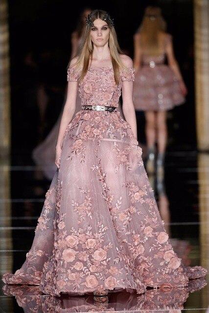 a4879e70f9b3 New Couture Zuhair Murad Evening Dresses for Sale 3D Flora Appliques Dusty  Blush Prom Dress Plus Size Latest Party Gown Design