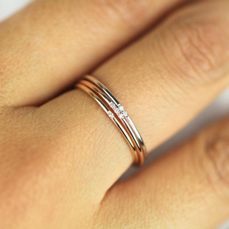 Tisonliz Stacking Female Thin Rings One Two Three Stone Rose Gold