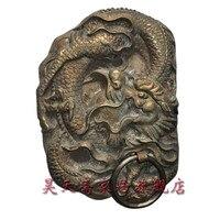 [Хаотянь вегетарианские] Китайский античный Мин и Цин Юньлун латунь дверной молоток обрабатывать большие драконы пункт HTA 038