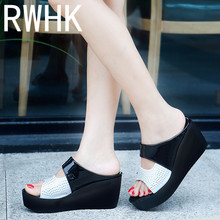 RWHK 2019 womens shoes ladies summer slippers breathable lightweight waterproof platform high-heeled muffin bottom B312