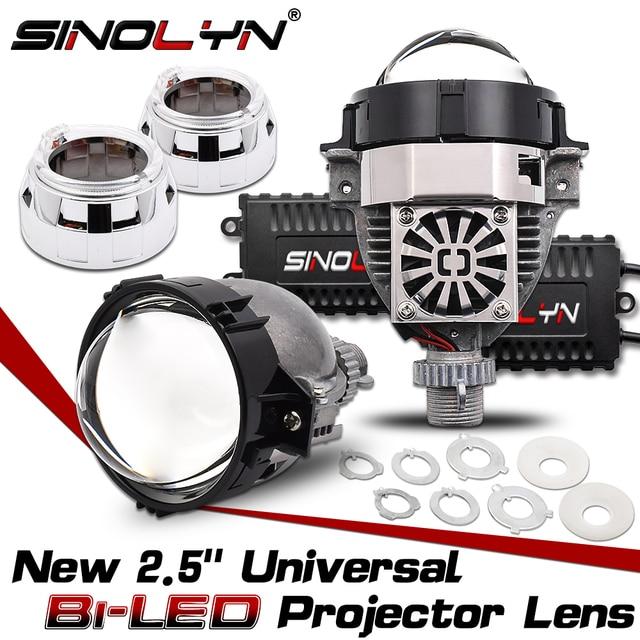 Sinolyn 2.5 ثنائية LED عدسة مصباح أمامي شكل عيون الصقر العدسات H4 H7 H1 9005 9006 العارض LED للسيارات السيارات أضواء الملحقات التحديثية