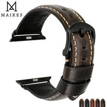genuine leather band for apple watch 38 40mm 42 44mm series 1 2 3 4 iwatch strap belt brown black blue red bracelet i307 MAIKES Genuine Leather Apple Watch Strap 44mm 40mm 38mm 42mm For Apple Watch band series 4 3 2 1  iWatch Accessories Bracelet