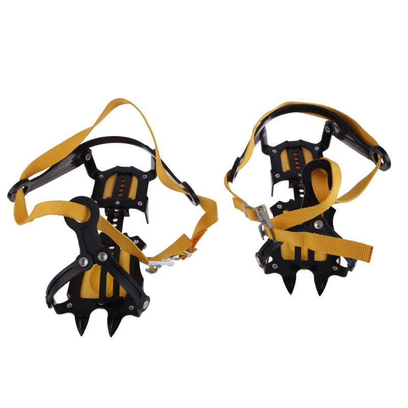 1 Pair of Bundled Crampons Professional 10-point Manganese Steel Ice Gripper Ice Crampons Snow Board for Climbing Trekking Ski 1 pair ice gripper slipproof strong ice crampons skiing crampons shoes snow walker for snow mountain climbing walking bag
