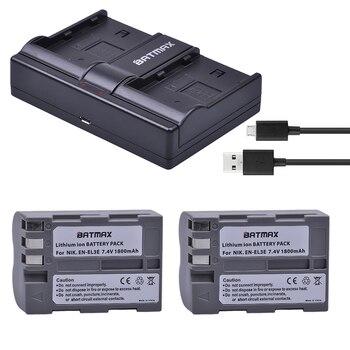 2 Pièces 1800 MAh EN-EL3E EN-EL3e ENEL3E EN EL3E Piles & Double Canal USB Chargeur Pour Nikon D50 D70 D80 D90 D100 D200 D300 D700 Z1