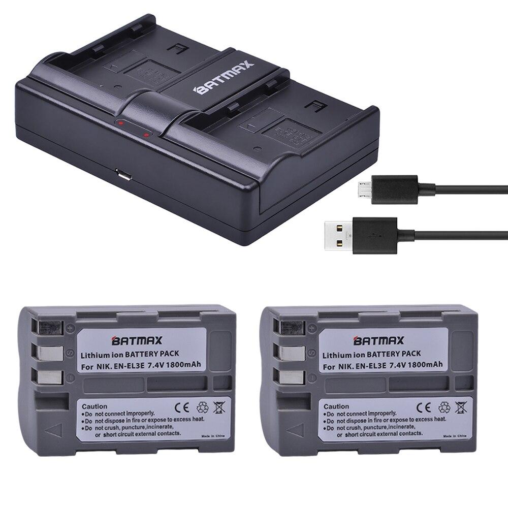 2Pcs 1800mAh EN-EL3E EN-EL3e ENEL3E EN EL3E Batteries&Dual Channel USB Charger for Nikon D50 D70 D80 D90 D100 D200 D300 D700 z1 стоимость