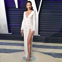 Seamyla 2019 New Elegant Bandage Dress Women Sexy High Split Celebrity Party Dresses Long Sleeve White Summer Long Maxi Dress