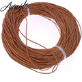 Awaytr 10m 1mm genuine real leather round cord/String/Thread Natural Brown Jewelry Necklace Pendant making/design