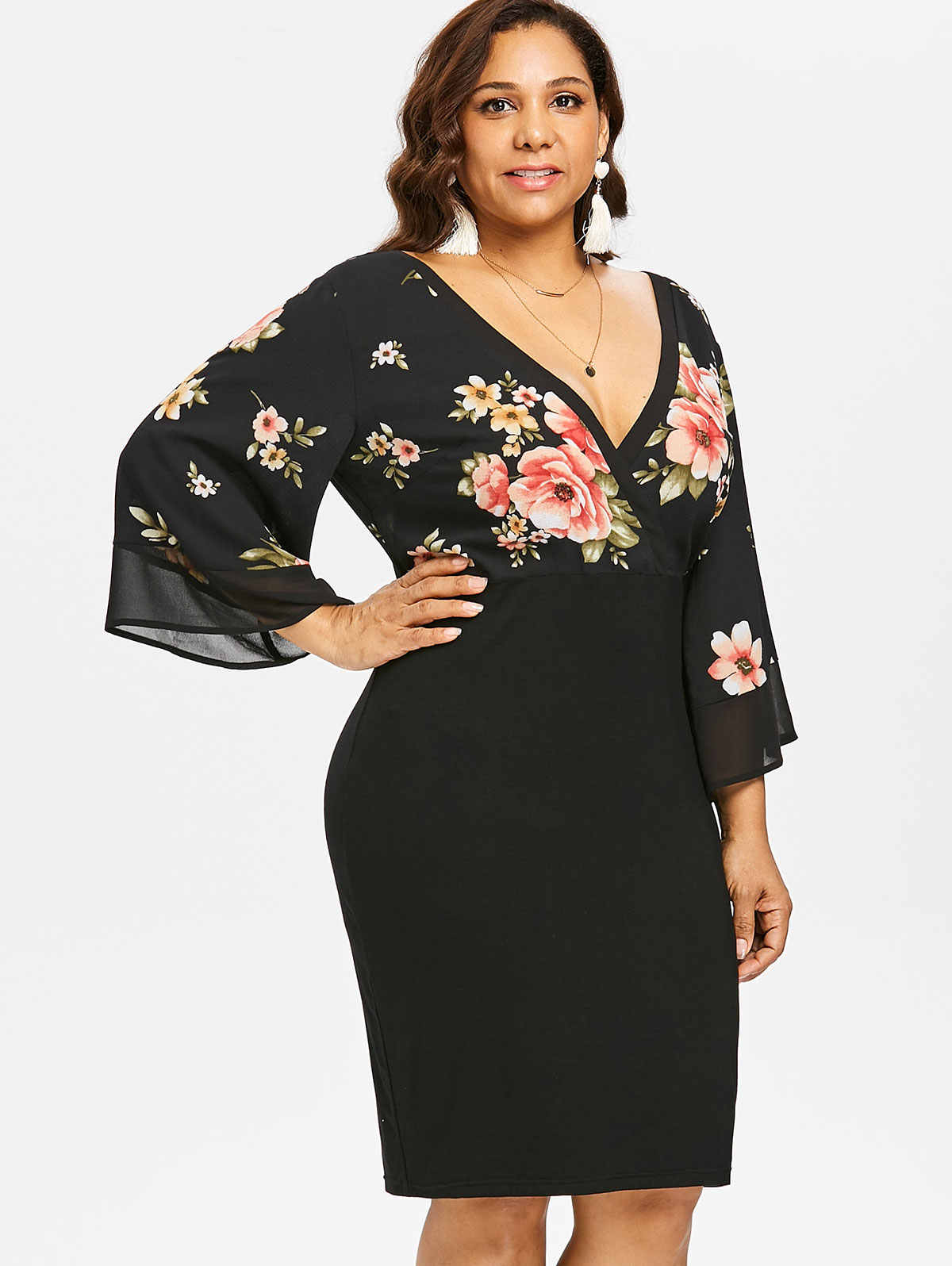 ... Gamiss Women Plus Size 5XL Bell Sleeve Low Cut Floral Dress Plunging  Neck 3 4 ... e79426246d2a