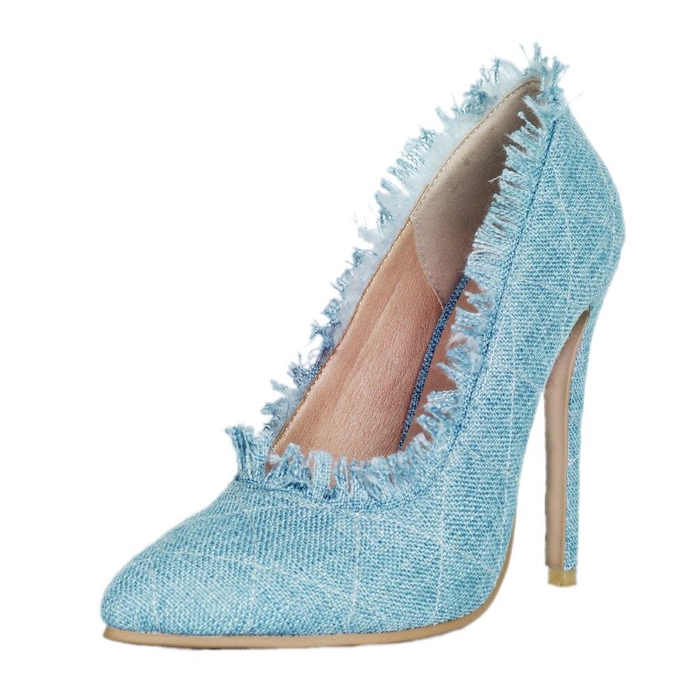 4 Ef1112 Us Chaussures Sexy Pompes Nouveau Clair Pointu Plus Initiale Bleu La Femme Talons L'intention Haute 15 Taille Denim Femmes Bout 2018 Mince qRgBHHCxw