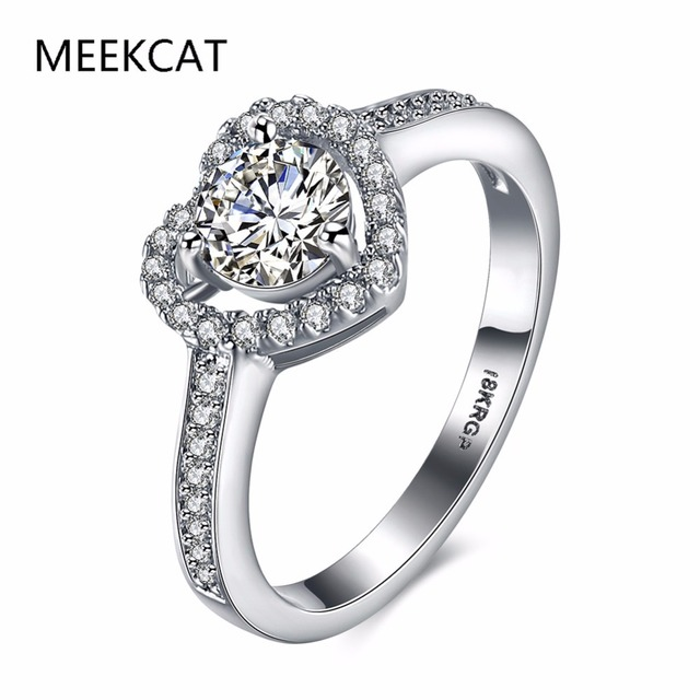 Meekcat Heart Shape 18kgp White Gold Color Jewelry Ring Aaaaa Level Cz Wedding Band Engagement Rings