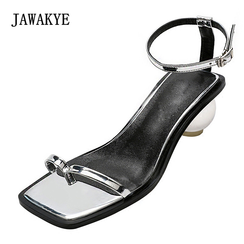 2018 Silver Mirror Crystal Ball Heel Shoes Woman Open Toe Ankle Strappy Real Leather High Quality Gladiator Sandals strappy open shoulder knot blouse