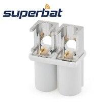 Superbat Fakra двойной B белый/9001 штекер правый угол Конец Запуск PCB крепление RF коаксиальный разъем для радио с фантомным питанием