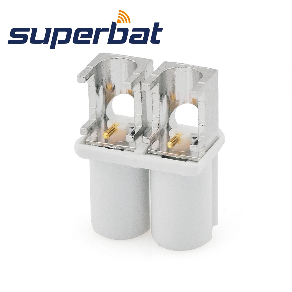 Superbat Fakra Double B White/9001 Male Plug Right Angle End Launch PCB Mount RF Coaxial Connector For Radio With Phantom Supply