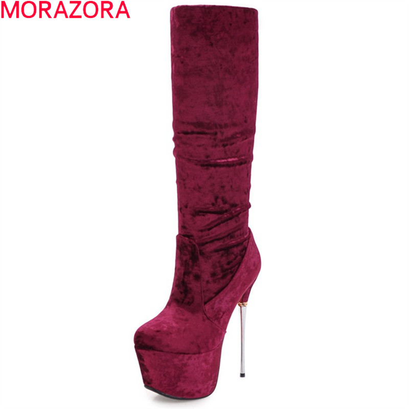 MORAZORA 2018 fashion women boots black white flock platform ladies boots super high thin heel knee high boots sexy prom shoes jialuowei women sexy fashion shoes lace up knee high thin high heel platform thigh high boots pointed stiletto zip leather boots