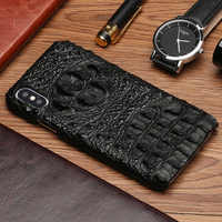 Genuine Leather shockproof phone case for iphone x xs xr Durable Crocodile grain luxury back cover for Iphone 6 7 8plus 5 5s SE